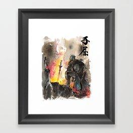 Dark Souls Bonfire with a Warrior Japanese calligraphy Framed Art Print