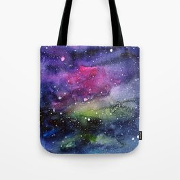 Galaxy Watercolor Night Sky Painting Nebula Art Tote Bag