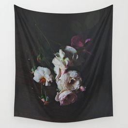 English Roses Still Life - Dark Number Two Wall Tapestry