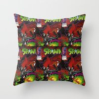 spawn Throw Pillows featuring Spawn 1 cover by Mr D's Abstract Adventures