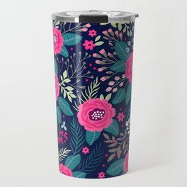 Floral pattern. Bright beautiful roses on a blue background. Travel Mug
