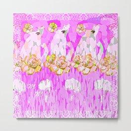 PINK ROSES AND GIRLS Metal Print