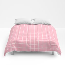 Cherry blossom pink - pink color - White Lines Grid Pattern Comforters