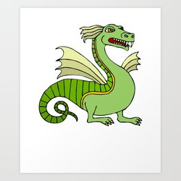 Green Chinese Dragon Art Print