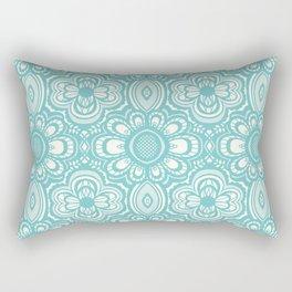Lace Floral Aquamarine (Blue Aqua Ivory) Rectangular Pillow