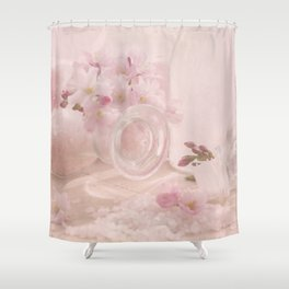 Almond blossoms in Vintage Style Shower Curtain