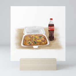 Watercolor Illustration of Chinese Street Food - Fried rice Mini Art Print