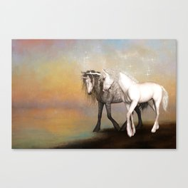 Unicorn love in the rainbow world Canvas Print
