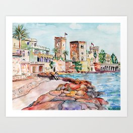 Mandelieu castle French Riviera Art Print