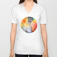 planet V-neck T-shirts featuring Planet by ceciliahansson