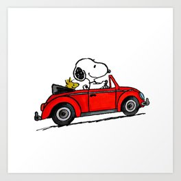 snoopy car Art Print
