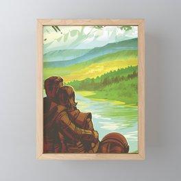 Earth Retro Space Poster Framed Mini Art Print