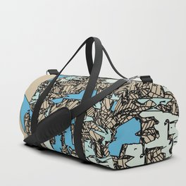 drawing and sketching abstract in blue with brown background Duffle Bag