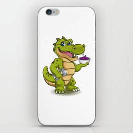 Funny Crocodile with dumbbell and bowl of ice cream iPhone Skin