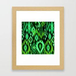 MODERN IKAT TRIBAL PATTERN | green Framed Art Print