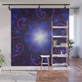 Beautiful Ultra Violet Fractal Nightshade Flower Wall Mural