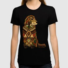 Golden Retriever ivory Black SMALL Womens Fitted Tee