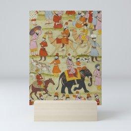 PERSIAN Iran MINIATURE Muraqqa Print Islam - Elephant Camels Singers Dancers Mini Art Print