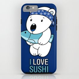 Sushi Loving Polar Bear Holding Fish iPhone Case