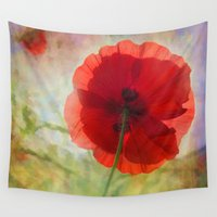 fairytale Wall Tapestries featuring Fairytale Poppy by Teresa Pople