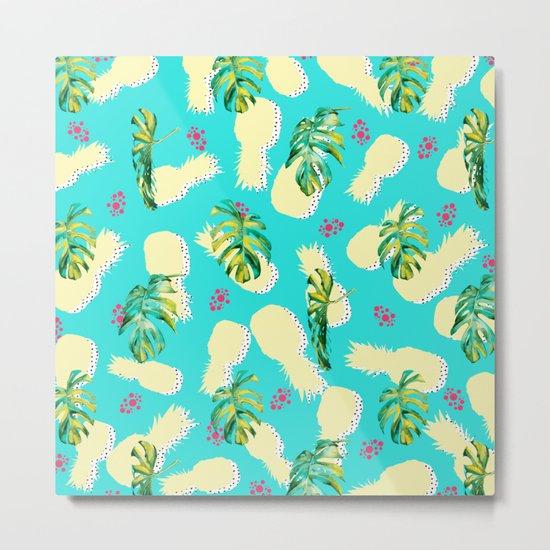Pattern summer leaf & pineapple Metal Print
