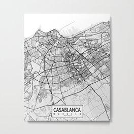 Casablanca City Map of Morocco - Light Metal Print