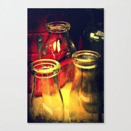 Vintage Milk Bottles Canvas Print