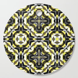 black yellow gray and white geometric Cutting Board