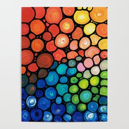 River's Edge - Colorful Mosaic abstract by Labor of Love artist Sharon Cummings. Poster
