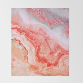 Luxury LIVING CORAL Agate Marble Geode Gem Throw Blanket