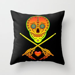 Neon Sugar Skull Drummer. Throw Pillow