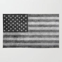 US flag - retro style in grayscale Rug