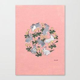 Bunnies love dandelions Canvas Print