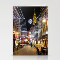 brussels Stationery Cards featuring Cozy street in Brussels by Lapin Läpi