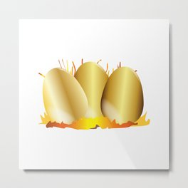 Three Gold Eggs Metal Print