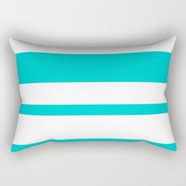 Mixed Horizontal Stripes - White and Cyan Rectangular Pillow