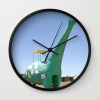 dino Wall Clocks featuring dino by Natalie Jeffcott