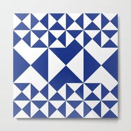 BLUE & WHITE GEOMETRIC Metal Print