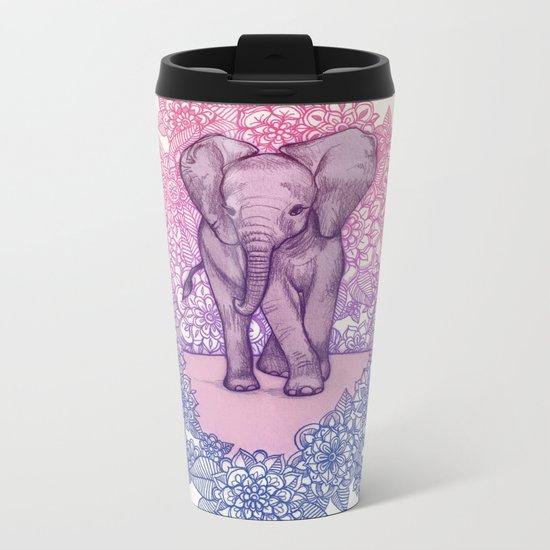 Cute Baby Elephant in pink, purple & blue Metal Travel Mug