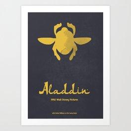 Aladdin, minimal movie poster, 1992 classic animated movie, Robin Williams, princess Jasmine, Jafar Art Print