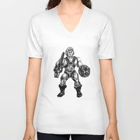he man V-neck T-shirts featuring HE-MAN by Furry Turtle Creations
