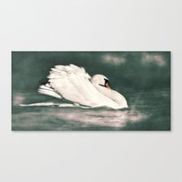 black swan Canvas Prints featuring Swan by Linsey Williams Wall Art, Clothing, And