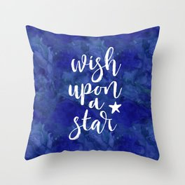 Wish upon a star - midnight blue Throw Pillow