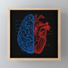 Heart and Brain Framed Mini Art Print