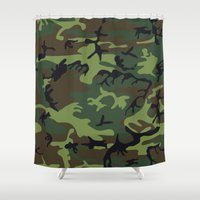 army Shower Curtains featuring Army Camouflage by TilenHrovatic