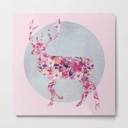 Flower Deer and circle pastel blue pink colors Metal Print