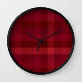 Dark Red Check / Plaid Striped Digital Pattern Wall Clock