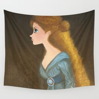 rapunzel Wall Tapestries featuring Rapunzel by carotoki art and love
