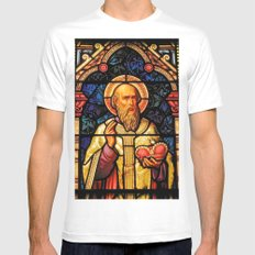 Saintly Glass #2 MEDIUM White Mens Fitted Tee