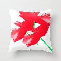 poppies Throw Pillows featuring Poppies by Vitta